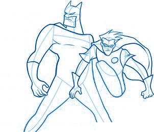 dessiner Batman et Robin - etape 7