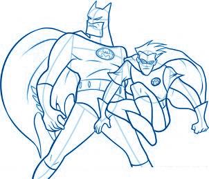 dessiner Batman et Robin - etape 9