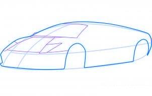 dessiner une voiture de sport lamborghini murcielago - etape 3