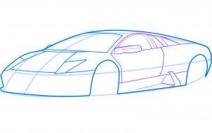 dessiner une voiture de sport lamborghini murcielago - etape 4