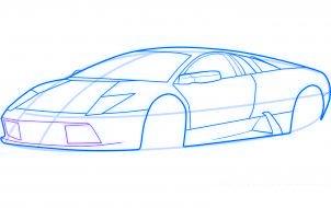 dessiner une voiture de sport lamborghini murcielago - etape 5