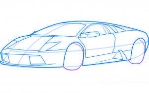 dessiner une voiture de sport lamborghini murcielago - etape 6