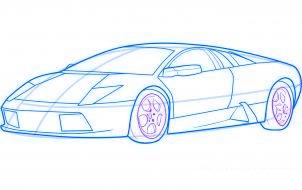 dessiner une voiture de sport lamborghini murcielago - etape 7