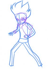 dessiner gingka du dessin anime beyblade - etape 3