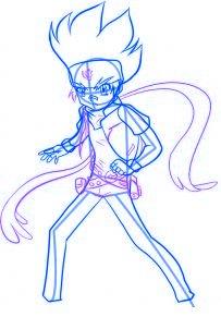 dessiner gingka du dessin anime beyblade - etape 4