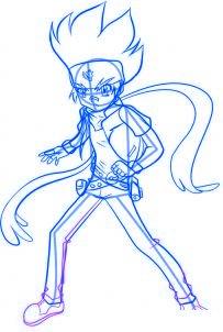 dessiner gingka du dessin anime beyblade - etape 5