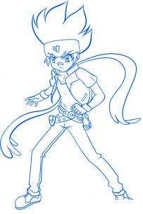 dessiner gingka du dessin anime beyblade - etape 6