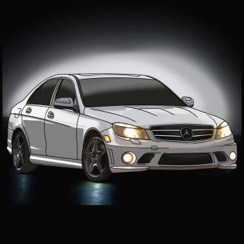 dessin de voiture Mercedez Benz terminé