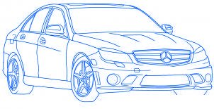dessiner une voiture Mercedes Benz - etape 6