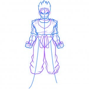 dessiner sangohan de drabon ball z - etape 3