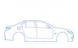 dessiner une voiture BMW M5 tuning - etape 3