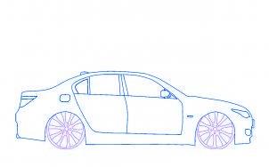 dessiner une voiture BMW M5 tuning - etape 4