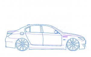 dessiner une voiture BMW M5 tuning - etape 5