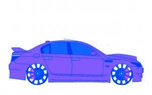 dessiner une voiture BMW M5 tuning - etape 6