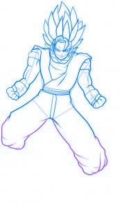dessin vegeto de dragon ball z - etape 10