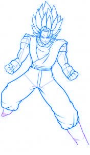 dessin vegeto de dragon ball z - etape 11