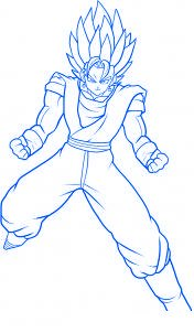 dessin vegeto de dragon ball z - etape 12