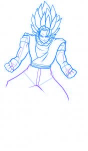dessin vegeto de dragon ball z - etape 9