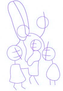 dessiner la famille simpson - etape 1