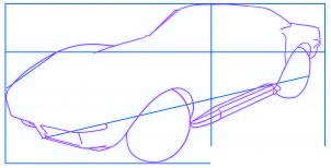 dessiner une voiture Corvette - etape 2