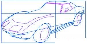 dessiner une voiture Corvette - etape 3