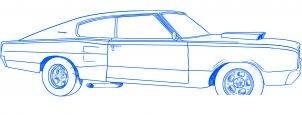 dessiner une voiture Dodge Charger 1969 - etape 6