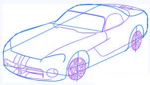 dessiner une voiture Dodge Viper - etape 3