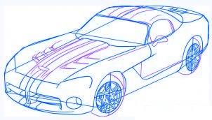 dessiner une voiture Dodge Viper - etape 4