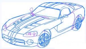 dessiner une voiture Dodge Viper - etape 5