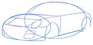 dessiner une voiture Porsche Carrera 911 - etape 3