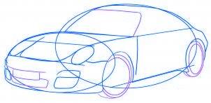 dessiner une voiture Porsche Carrera 911 - etape 4