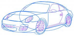 dessiner une voiture Porsche Carrera 911 - etape 5