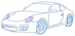 dessiner une voiture Porsche Carrera 911 - etape 6