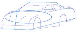 dessiner une voiture de course Nascar - etape 2
