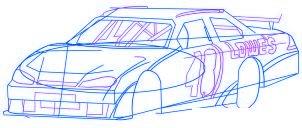 dessiner une voiture de course Nascar - etape 4