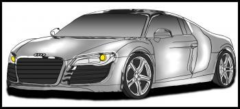 dessin de voiture Audi R8 terminé
