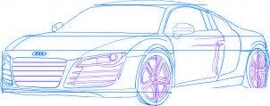 dessiner une voiture Audi R8 - etape 4
