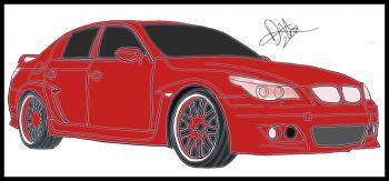 dessin de voiture de course tuning BMW M5 terminé