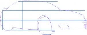 dessiner une voiture de course tuning BMW M5 - etape 2