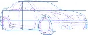 dessiner une voiture de course tuning BMW M5 - etape 3