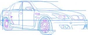 dessiner une voiture de course tuning BMW M5 - etape 4