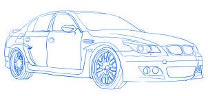 dessiner une voiture de course tuning BMW M5 - etape 5