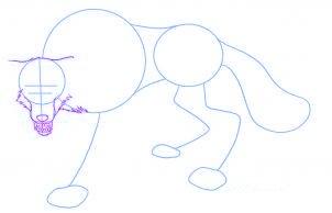 dessiner un loup de dessin anime - etape 2