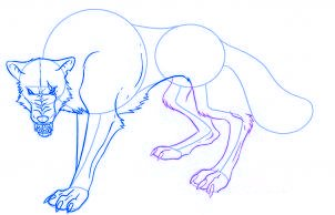 dessiner un loup de dessin anime - etape 5