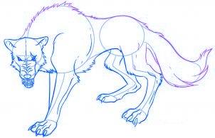 dessiner un loup de dessin anime - etape 6