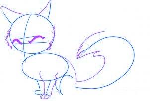 dessiner un renard de dessin anime - etape 2