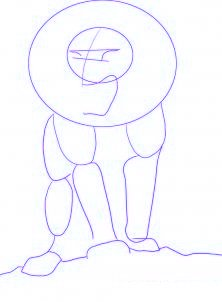 dessiner un lion de dessin anime - etape 1