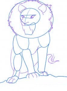 dessiner un lion de dessin anime - etape 2