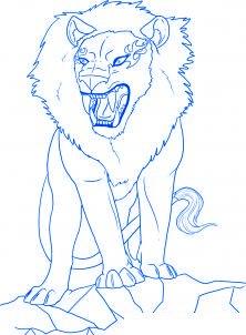 dessiner un lion de dessin anime - etape 6