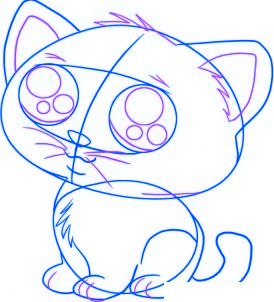 dessiner un chat de dessin anime - etape 4